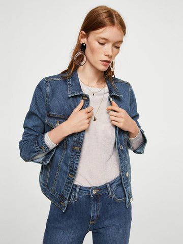 MANGO Women Blue Washed Denim Jacket