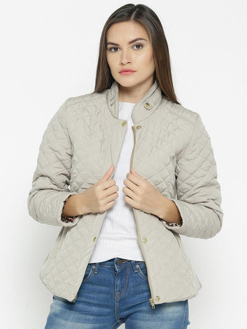 Fort Collins Women Beige Solid Quilted Jacket