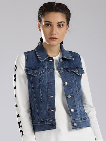 Levis Women Blue Solid Denim Jacket