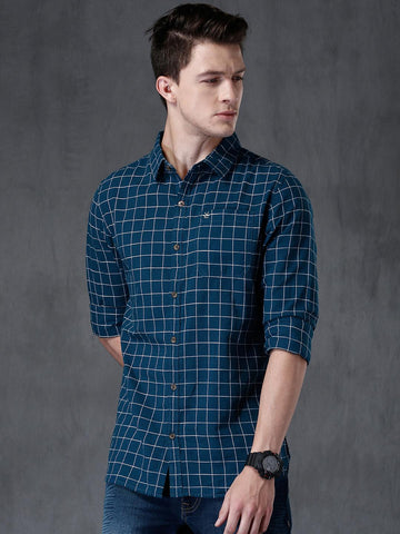 WROGN Men Navy Checked Casual Shirt