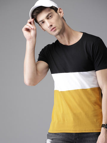 HERE&NOW Men Black & Mustard Yellow Colourblocked Round Neck T-shirt