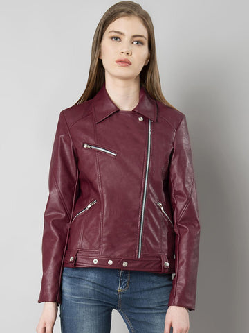 FabAlley Women Maroon Solid Leather Biker Jacket
