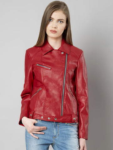 FabAlley Women Red Solid Leather Biker Jacket