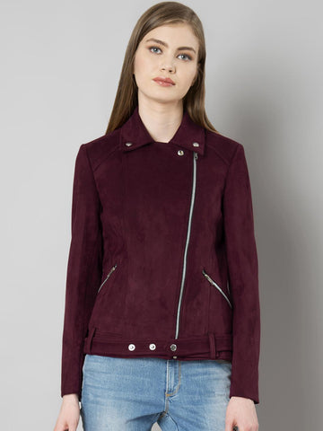 FabAlley Women Burgundy Solid Leather Jacket