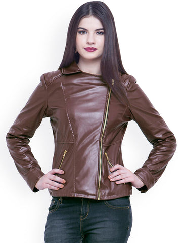 FabAlley Brown Leather Jacket