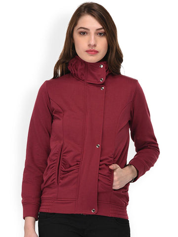 PURYS Women Red Solid Bomber