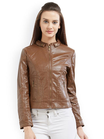 Kraus Jeans Women Tan Solid Biker Jacket