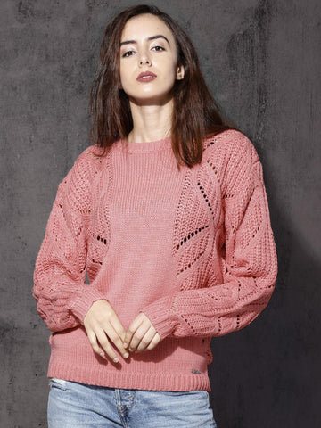 Roadster Women Pink Self Design Pullover