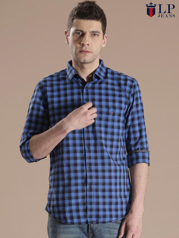 Louis Philippe Jeans Blue & Black Checked Union Slim Casual Shirt