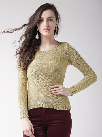 Species Women Beige & Gold-Toned Solid Sweater