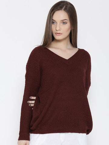 FOREVER 21 Women Burgundy Solid Sweater
