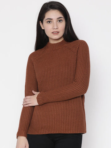 FOREVER 21 Women Brown Self Design Pullover