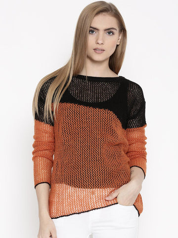 United Colors of Benetton Rust Brown & Black Sweater