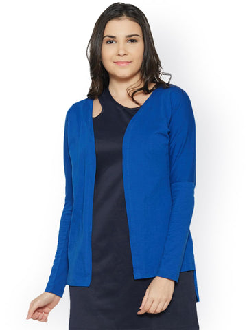 Bombay High Blue Solid Open Front Shrug