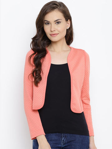 Madame Women Peach-Coloured Quilted Open Front Crop Jacket