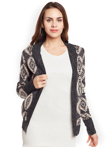 Latin Quarters Beige Printed Open Front Shrug
