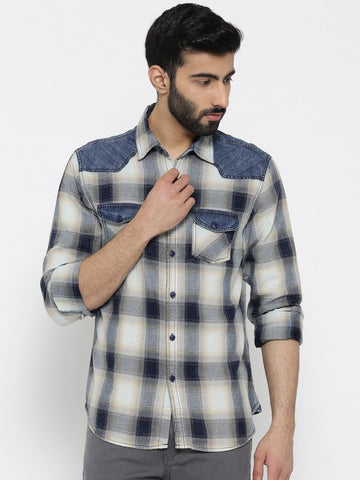 OVS Men Blue & Beige Checked Casual Shirt