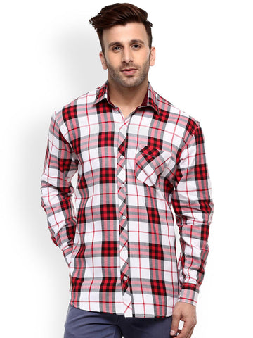 Hangup Men White & Red Regular Fit Checked Casual Shirt