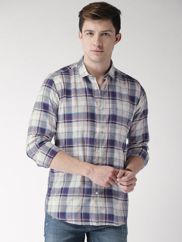Mast & Harbour Men Blue & Peach-Coloured Slim Fit Checked Casual Shirt