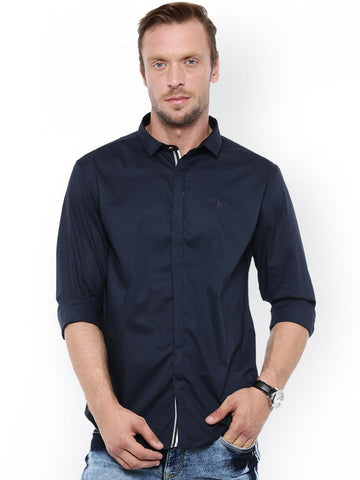 WITH Men Navy Blue Smart Slim Fit Solid Casual Shirt