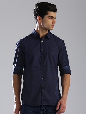 GAS Men Navy Blue Tailored Slim Fit Checked Casual Shirt