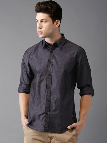Moda Rapido Navy Blue Solid Casual Shirt