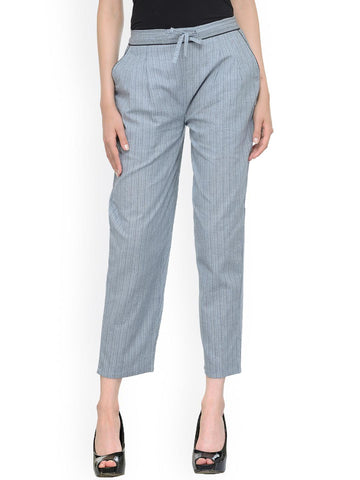 Bitterlime Women Grey Striped Relaxed Fit Formal Trousers
