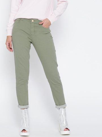 FOREVER 21 Women Olive Green Skinny Casual Trousers