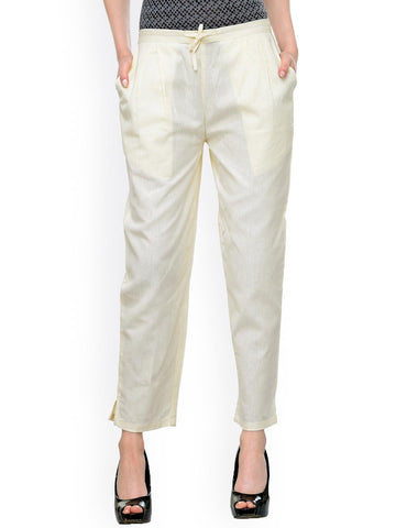 Bitterlime Women Cream-Coloured Relaxed Fit Solid Peg Trousers