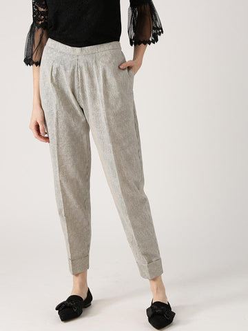 Libas Women Off-White & Black Relaxed Fit Striped Trousers