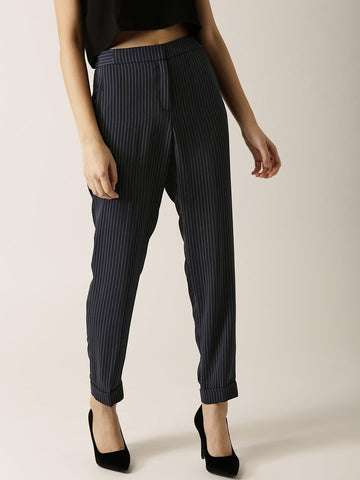 ESPRIT Women Navy Striped Casual Trousers