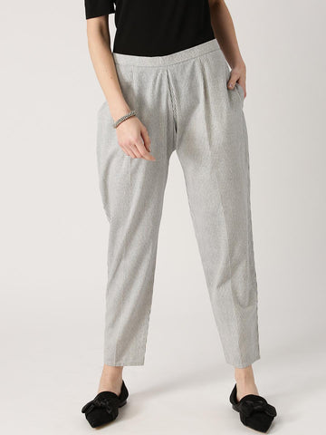 Libas Women Off-White & Blue Relaxed Fit Striped Trousers