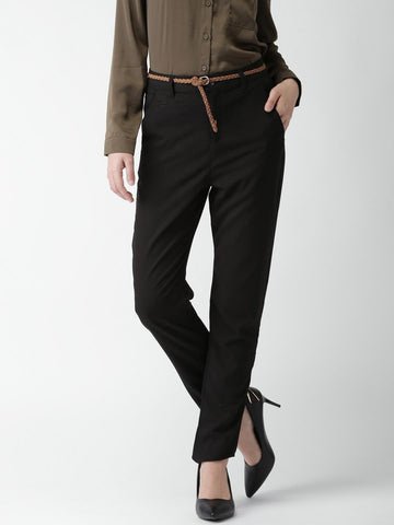 FOREVER 21 Black Regular Fit Formal Trousers