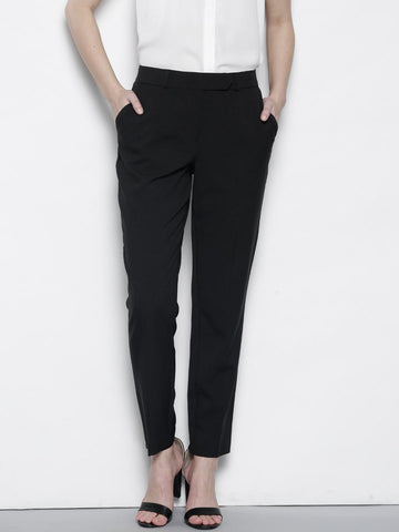 DOROTHY PERKINS Women Black Regular Fit Solid Formal Trousers