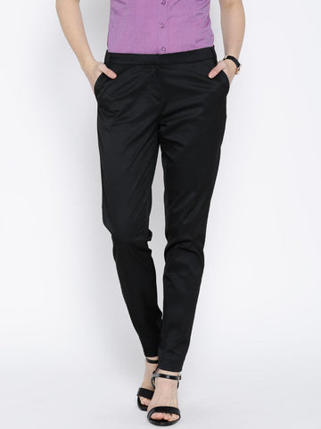 Wills Lifestyle Black Slim Formal Trousers