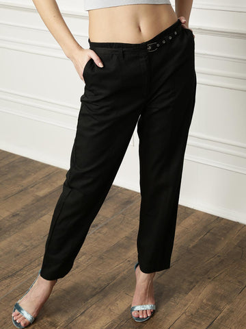 all about you Women Black Solid Casual Trousers