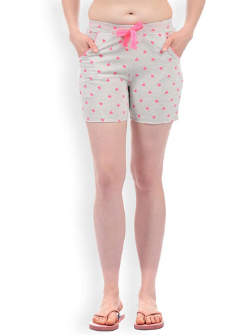 Sweet Dreams Women Grey Melange & Pink Printed Lounge Shorts