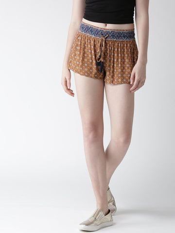 FOREVER 21 Women Rust Brown Printed Shorts