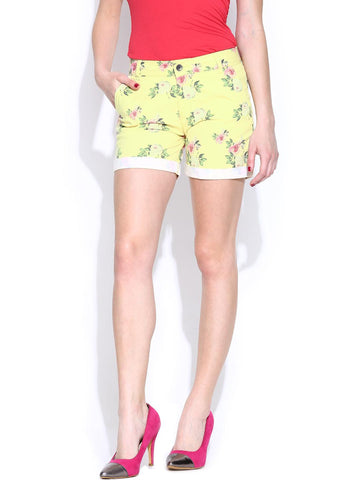 United Colors of Benetton Women Yellow Printed Shorts