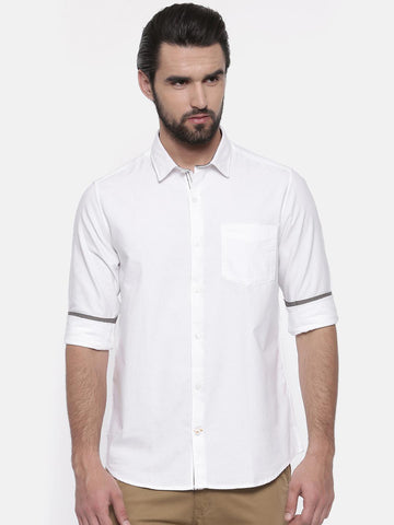 ColorPlus Men White Contemporary Regular Fit Solid Casual Shirt