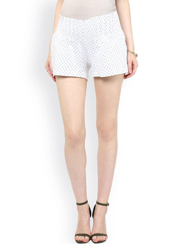 Mamacouture Women White & Black Printed Regular Fit Maternity Shorts