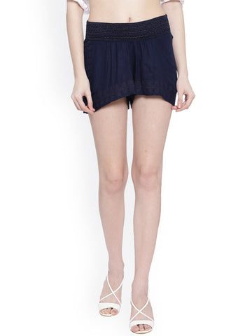 MIWAY Women Blue Solid Slim Fit Shorts