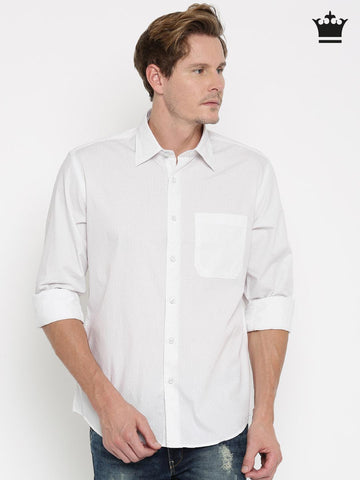 Louis Philippe White Printed Tailored Fit Casual Shirt