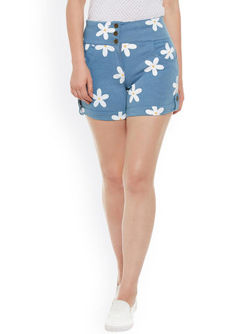 Rider Republic Women Blue Printed Slim Fit Denim Shorts