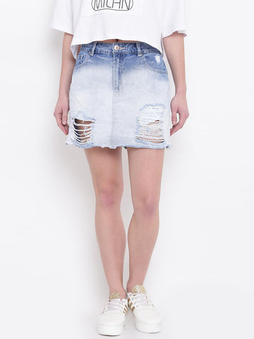 FOREVER 21 Blue Washed Distressed Denim Mini A-Line Skirt