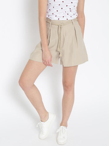 MANGO Women Beige Solid Casual Shorts