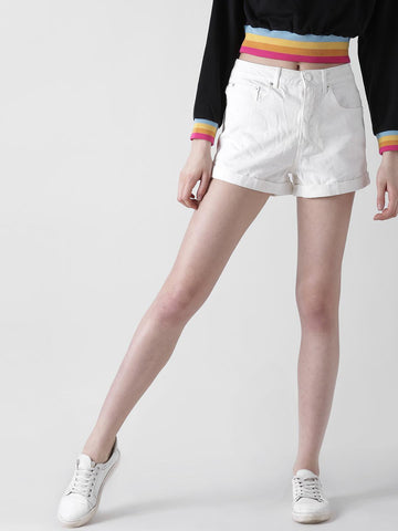 FOREVER 21 Women White Solid Regular Fit Chino Shorts