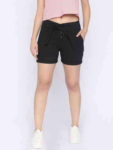Jealous 21 Women Black Solid Regular Fit Denim Shorts