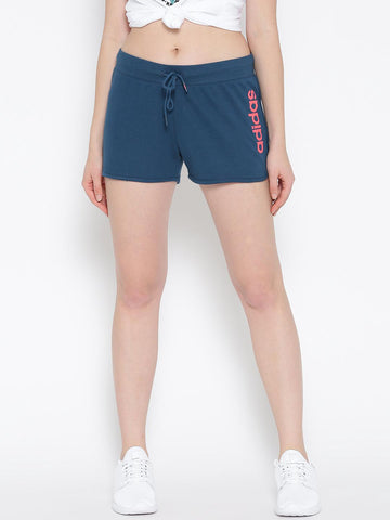 Adidas NEO Women Blue CE ADI Solid Sports Shorts