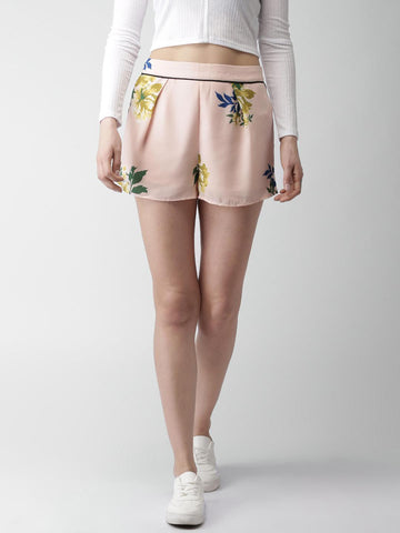 FOREVER 21 Women Peach-Coloured Printed Regular Fit Regular Shorts